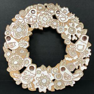 "St. Andrews Abbey Bird Wreath Handmade Ceramic Wall Plaque 11.5""  Wide Christmas"