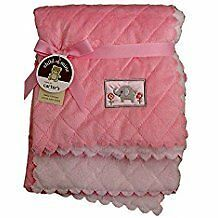 NWT Carters Child Of Mine Pink White Elephant Scalloped Quilted Baby Blanket