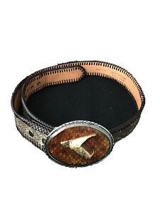 Handcrafted Diamondback Rattler men's belt, Real Snake Head Buckle SZ:36