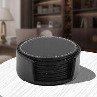 6X Schwarz Rund Untersetzer PU Leder Tischset Glasuntersetzer Tassenuntersetzer