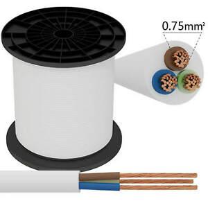 Stromkabel Elektrokabel Kabel H05VV-F 3-adrig 3x0,75 Weiß 230V 1 meter