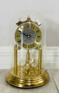 Loricron Glass Dome Clock Musical 9 inch Chimes Works Vintage Made In Germany