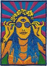 60's Retro Psychedelic Hippie Girl Embroidered Iron On Patch classic rock