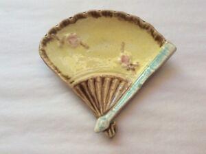 Antique Majolica Yellow Fan Butter Pat c.1800's