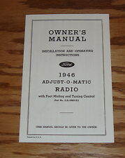 1946 Ford Radio Owners Installation Manual Instruction Book 46