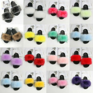 LADIES WOMENS FAUX FLUFFY FUR SLIDERS FASHION SUMMER SANDALS SLIPPERS SHOES✅