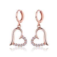 Women Heart Clear Crystal Drop Dangle Ear Earrings Leverback CZ Zirconia Gifts