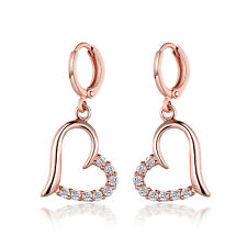 Fashion 18K Rose Gold Filled Crystal Topaz Women Hoop Drop Earrings Journey Gift