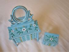DOLLHOUSE MINIATURE ARTISAN BLUE &FLOWERS VANITY & CHEST OF DRAWERS LOT EXC COND