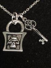 "Skull Lock & Skeleton Key Goth Charm Tibetan Silver with 18"" Necklace"