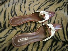 Ralph Lauren Brown and White Mules sz. 11B NWOT
