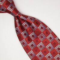 Ermenegildo Zegna Mens Silk Necktie Red Silver White Check Weave Woven Tie Italy