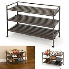 Shoe Rack Organizer Shelf Storage Stackable 3 Tier Shelves Utility Stand Resin