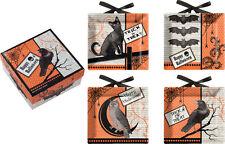 Happy Halloween Black Cat Bats Crow Owl Ceramic Mini Plates Set of 4