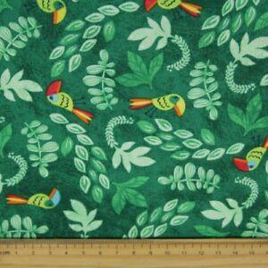 Papagei Stoff Vogel Baumwollstoffe grün von timeless treasures fabrics