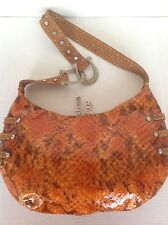 Charm And Luck Bag Purse Genuine Leather Studed Beaded Ombre Orange  Horse Shoe
