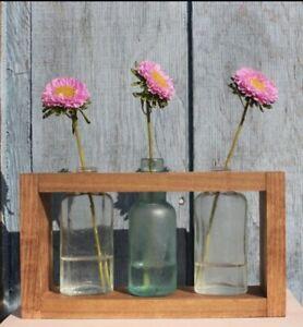 Handmade Wooden Flower Vase Display with Vintage Collectible Bottles