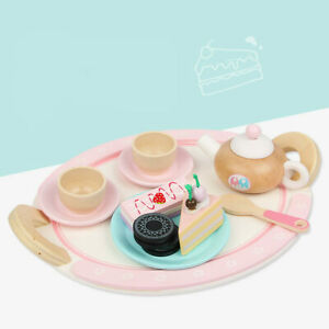 Kids Wooden Toys 12pcs Cake Dessert Tea Sets Play Pretend Toy Educational Gifts