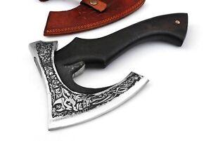 MDM Vikings Norseman Custom Handmade Carbon Steel Viking Bearded Axe Camping Axe