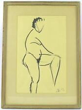 An original 1950's nude painting of a women. Artist's study. Signed. Framed