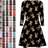 Women Ladies Kids Girls Xmas Santa Gifts Christmas Print Skater Mini Swing Dress