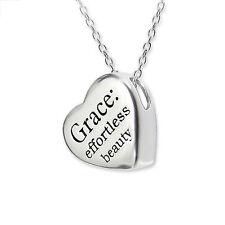925 Sterling Silver Grace effortless beauty heart necklace pendant charm