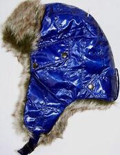 Isotoner Womens Ladies Blue Trapper Faux Fur Trim Warm Winter Hat Ear Cover