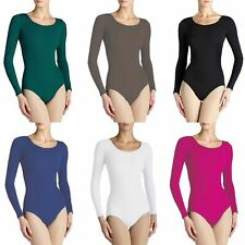 Ladies Nylon Lycra Stretch Long Sleeve Leotard Dance Bodysuit