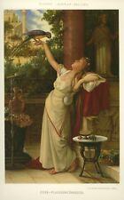 """Papagei, Dame, """"Kose""""- Plauderstündchen, Original-Farblithographie von 1880"""