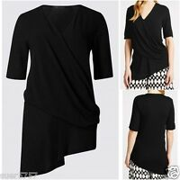 New Ex M&S Black Wrap Short Sleeve Layer Casual Top Size 10 - 24