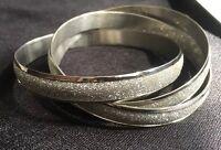 Rhinestone Three Bangle Bracelet Silver Intertwined Bling Prom Wedding Glam