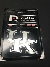 """Kentucky Wildcats Chrome Metal Auto Emblem (""""UK"""") NCAA Licensed MADE IN USA NEW"""