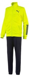 Puma Evo Junior Tracksuit Yellow Black Kids Stylish Track Suit Ages 7-14 Years