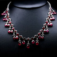 "NATURAL 7 X 9 mm. PEAR RED RUBY & WHITE CZ NECKLACE 19.5"" 925 STERLING SILVER"