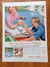1959 Barley & Malt Beer Ad Sailing Boating Water Skiing Theme