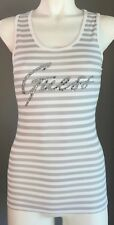 GUESS White & Grey Stripe Racer Back Embellished Motif Tank Top Size S (6-8)