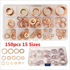 150PCS Solid Copper Washers Sump Plug Assorted Autos Engine Seal Washer Set Box
