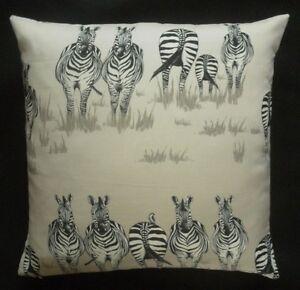 Juliet Travers Fabric Cushion Cover - DAZZLE -  Safari Zebra Design 45cm x 45cm