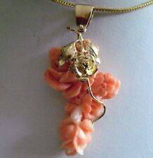 Estate14K Solid Yellow Gold Genuine Carved Coral Pendant .F17