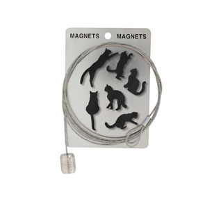Magnetic Photo Postcard Display Hanging Cable 6 Black Cat Magnets Home Office