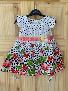 Baby girls dress 6-12-24 months BUTTERFLY pattern holidays summer dress UkSeller