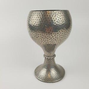 Vintage Manor Period Sheffield Pewter Hammered Effect Goblet Shaped Vase 16.5cm