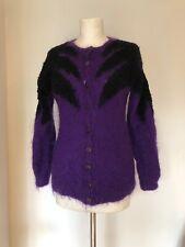 Vintage Home Knit Purple & Black Mohair Cardigan Small 8 Retro 1980s