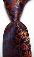 New Classic Paisley Dark Blue Gold JACQUARD WOVEN 100% Silk Men's Tie Necktie
