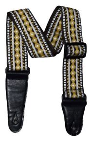 Stylish Embroidered Guitar Strap – Comfortable and Adjustable-Yellow Pattern
