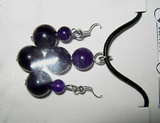 AMETHYST BEAD NECKLACE ON LEATHER CORD WITH AMETHYST EARRINGS