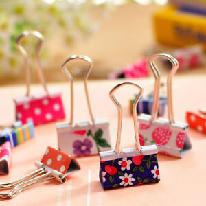 24pcs Cute Colorful Metal Binder Clips File Paper Clip Office Supplies 19mm Oh