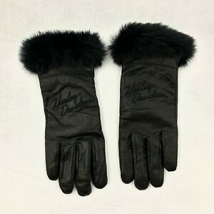 Harley Davidson Womens Black Leather Gloves Cashmere Lined with Rabbit Fur Small