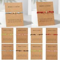 Charm Friendship Make a Wish Heart Star Rope Bracelet Bangle Couple Card Jewelry