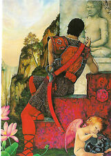 """RUBY"" the WARRIOR SEEKS HEALING AT BUDDAH - GREETINGS CARD CEYLON - ASTROLOGY"